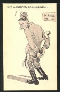 AK Kaiser Franz Josef I. von Österreich hält die Hände hinter dem Rücken, Propaganda Entente
