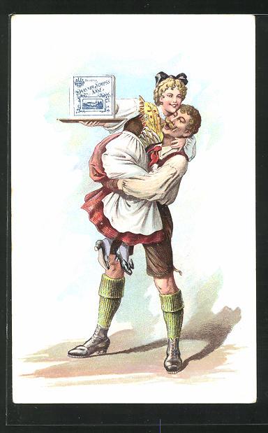 AK Mann hält eine Frau im Arm, Reklame für Käse 0