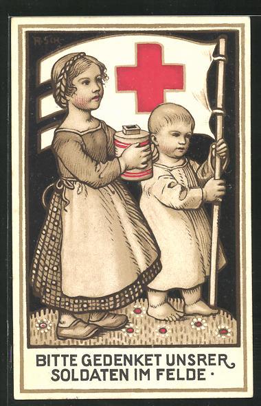 Künstler-AK Rudolf Schiestl: Kinder sammeln für das Rote Kreuz 0