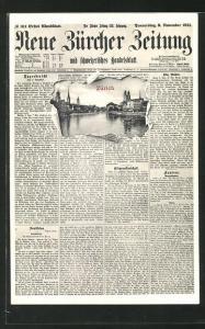 AK Zürich, Ortsansicht durch die aufgerissene Zeitung Neue Zürcher Zeitung