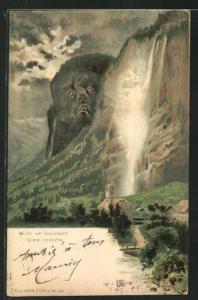 AK Staubbach, Berg mit Gesicht / Berggesichter, Killinger Nr. 124