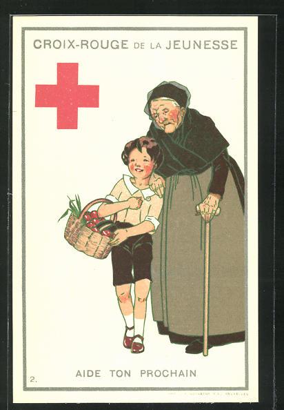 AK Croix-Rouge de la Jeunesse, Aide ton prochain, Kind trägt alter Frau den Korb 0