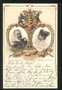 Präge-AK König Wilhelm II. und Königin Charlotte von Württemberg