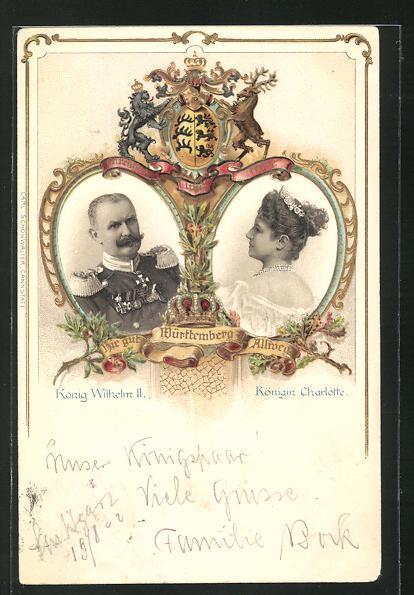 Präge-AK König Wilhelm II. und Königin Charlotte von Württemberg 0