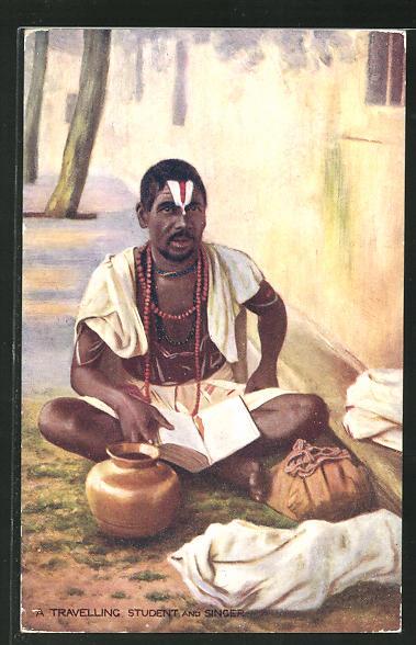 AK Indien, A travelling student and singer, Indischer junger Mann mit Buch 0