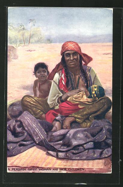 AK A Persian Gipsy Woman an Children, Zigeunerin mit Kindern 0