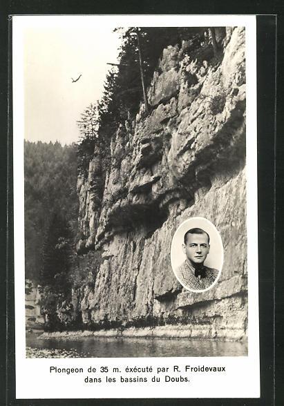 AK Wassersport, Plongeon de 35 m. execute par R. Froidevaux dans les bassins du Doubs 0