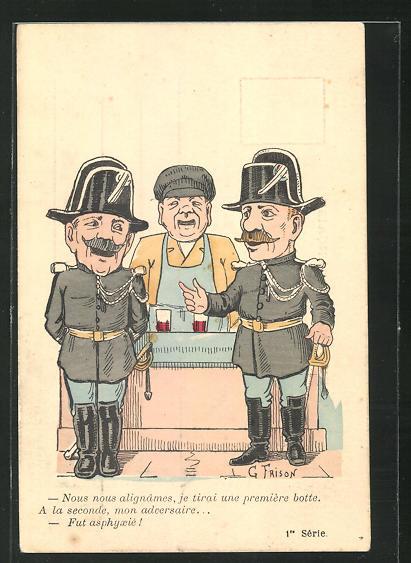 Künstler-AK sign. G. Frison: Zwei Soldaten in Uniformen unterhalten sich an der Theke 0