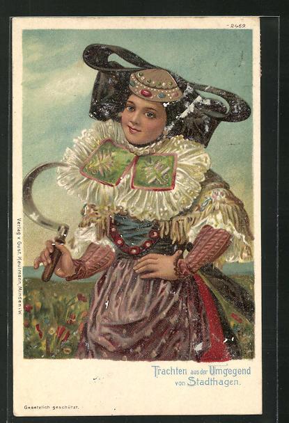 AK Stadthagen, Frau in Tracht von Schaumburg-Lippe mit Sichel 0