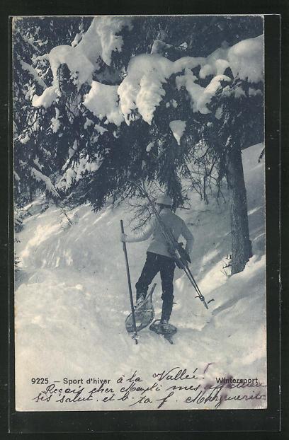 AK Wintersport, Mann mit Schneeschuhen 0