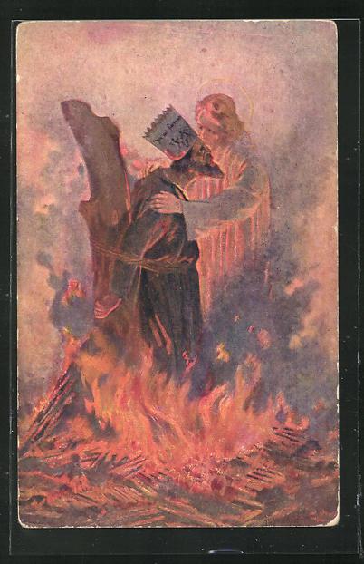 AK Th. Vesely: Und der Herr nahm den Ketzer zu sich, Jan Hus 0