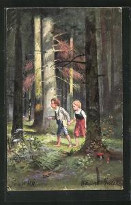 AK Hänsel und Gretel im Wald