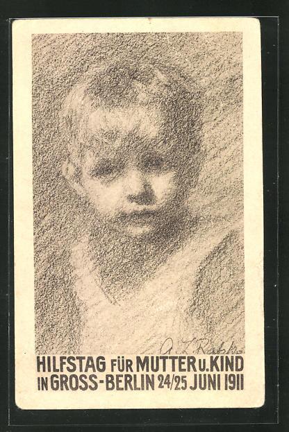 AK Berlin, Hilfstag für Mutter u. Kind 1911, Kleiner Junge, Kinderfürsorge 0