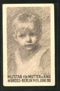 AK Berlin, Hilfstag für Mutter u. Kind 1911, Kleiner Junge, Kinderfürsorge