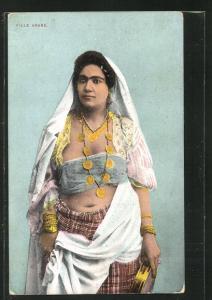 AK Fille Arabe, Arabisches Mädchen mit Kopftuch