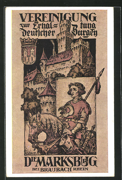 AK Braubach a / Rhein, Marksburg, Ritter mit Lanze zu Pferde 0