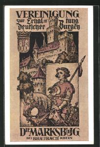 AK Braubach a / Rhein, Marksburg, Ritter mit Lanze zu Pferde