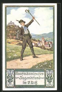 AK Kaufmännischer Jugendbund im V. D. H., Junge in Tracht mit Hut und Stock