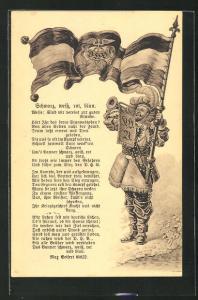AK Schwarz, weiss, rot blau, Weise: Sind wir vereint zur guten Stunde, Mann mit Flagge D. H. V. und Trompete