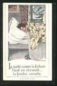 AK Anti-Tuberkulose-Kampagne, La sante comme la fortune, Mädchen schläft bei offenem Fenster