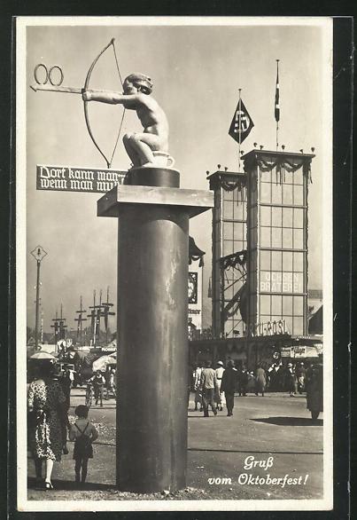 AK München, Gruss vom Oktoberfest, Dort kann man, wenn man muss!, Statue Kind mit Bogen auf Nachttopf,  0