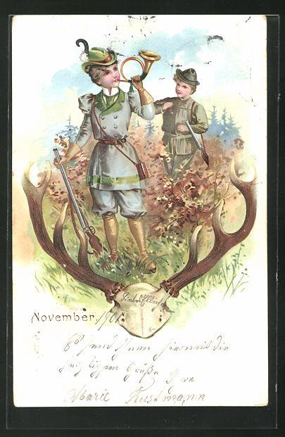 AK November, Jägerin mit Jagdhorn und Gewehr, Jäger im Hintergrund 0