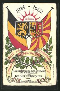 AK Geneve, Justitia 1914-1602, L`Union fait la Force-Post Tenebras Lux, Wappen und Flaggen