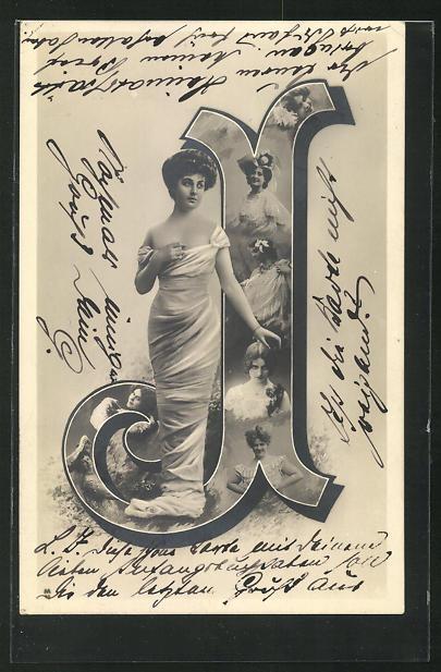 AK Frau im langen Kleid und der Buchstabe J als Fotomontage mit Frauenportraits 0