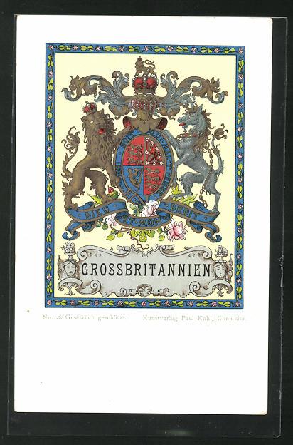 AK Grossbritannien, Dieu et mon droit, Löwe und Einhorn Wappen 0