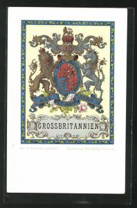 AK Grossbritannien, Dieu et mon droit, Löwe und Einhorn Wappen