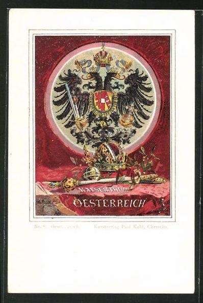 AK Kaiserthum Oesterreich, Doppelköpfiger Adler mit Schwert und Krone 0