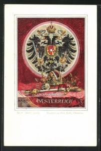 AK Kaiserthum Oesterreich, Doppelköpfiger Adler mit Schwert und Krone