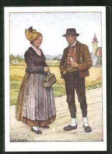 AK Oberdonau-Innviertel, Altes Paar in Ostmärkischen Volkstrachten