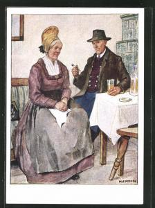 AK Wachau / N. D., Altes Paar in Volkstrachten