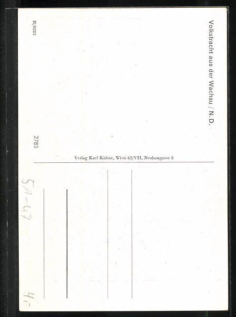 AK Wachau / N. D., Altes Paar in Volkstrachten 1