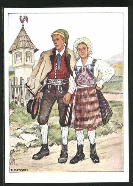 AK Kärnten-Gailtal, Paar in Ostmärkischen Volkstrachten 0