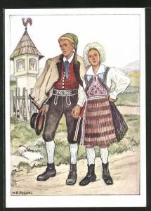 AK Kärnten-Gailtal, Paar in Ostmärkischen Volkstrachten