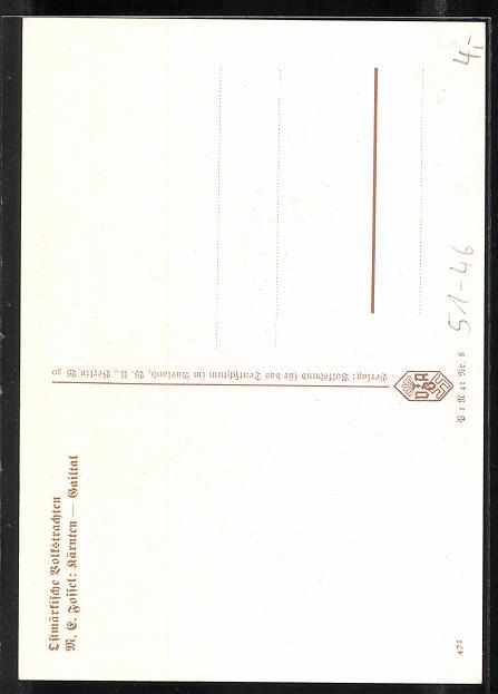 AK Kärnten-Gailtal, Paar in Ostmärkischen Volkstrachten 1