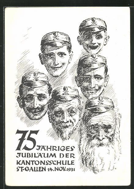 AK St-Gallen, 75jähriges Jubiläum der Kantonsschule 1931, Alte und junge Männer 0