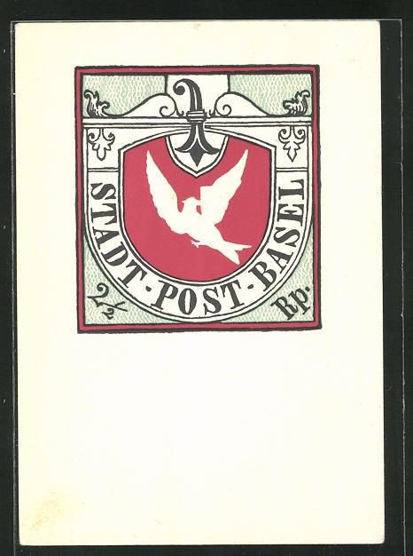 Präge-AK Basel, Stadt-Post, Brieftaube mit Brief 0