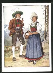 AK Tirol-Wipptal, Älteres Paar in Ostmärkischen Volkstrachten