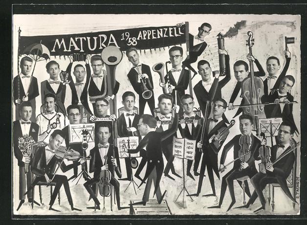 AK Appenzell, Matura 1958, Absolvia, Schüler mit Instrumenten 0
