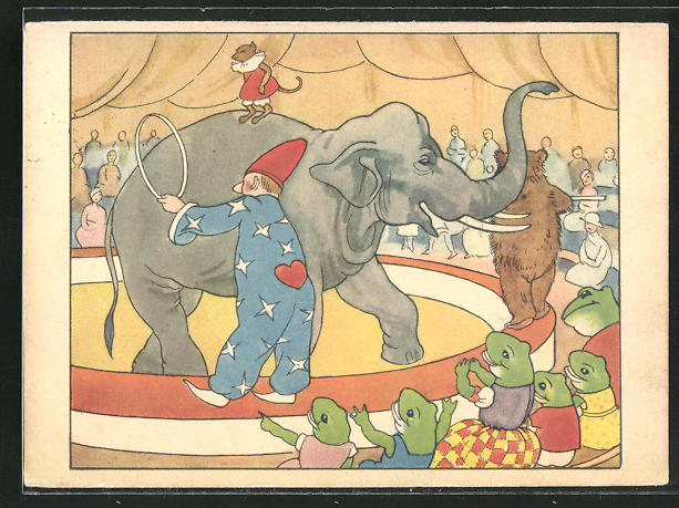 AK Elefant im Zirkus mit Fröschen im Publikum 0
