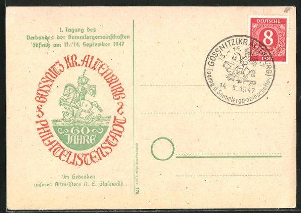 AK Gössnitz, 1. Tagung des Verbandes der Sammlergemeinschaften 1947 0