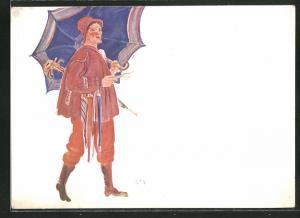 Künstler-AK Ernst Bieler: Lausanne, Fete Federale de Chant, Marchand de Parapluies, Regenschirmverkäufer
