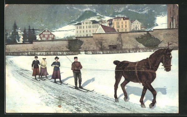 AK Wintersport: Skikjöring, Pferd zieht Skifahrer 0
