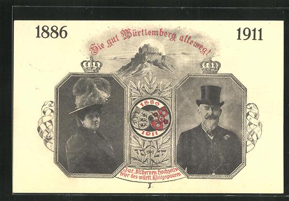 AK Silberne Hochzeit des württ. Königspaares 1911, Ganzsache Deutsches Reich 0