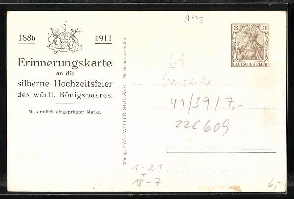 AK Silberne Hochzeit des württ. Königspaares 1911, Ganzsache Deutsches Reich 1