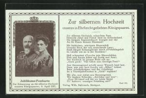 AK Zur silbernen Hochzeit unseres Ehrfurcht geliebten Königspaares von Württemberg 1911, Ganzsache