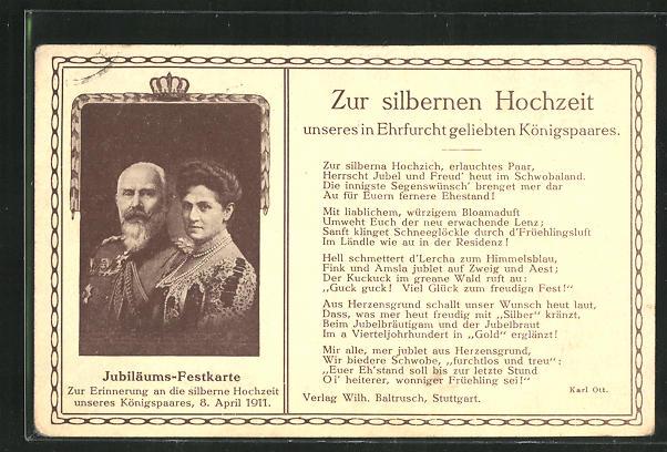 AK Zur silbernen Hochzeit unseres Ehrfurcht geliebten Königspaares von Württemberg 1911, Ganzsache 0